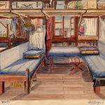 Fritz Bambach's bunk, left, with suitcase bearing his name above. Courtesy Ralph Guilor.
