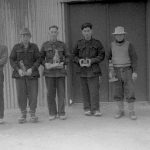 Japanese internees with wood carvings at Loveday, September 1943. ICRC Audiovisual Archive V-P-HIST-01878-29